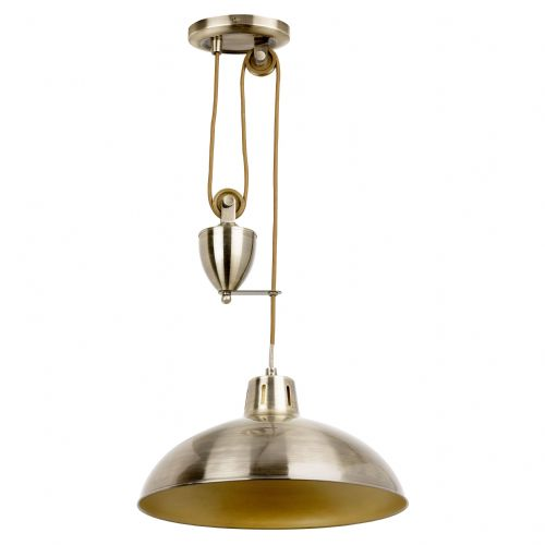 Single Rise & Fall Ceiling Pendant In Antique Brass POLKA-AB